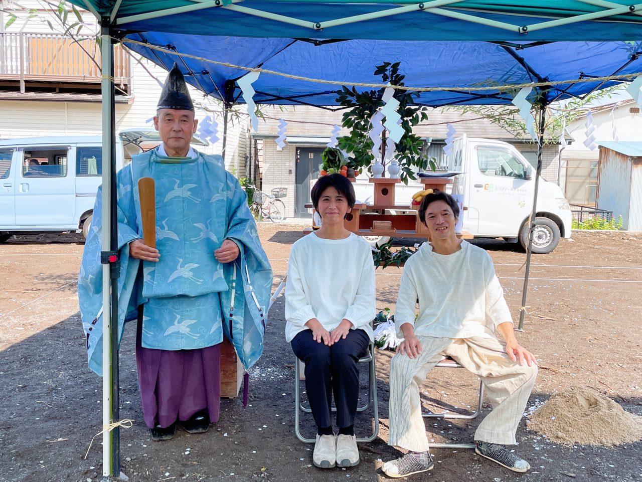 エコフィールドの大工、角田さんのお家の地鎮祭が行われました!
